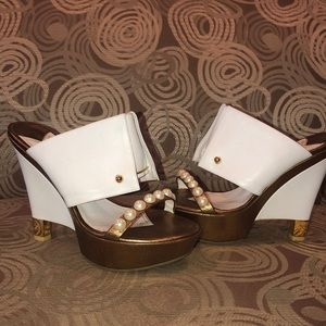 Chanel pearl and bronze wedges